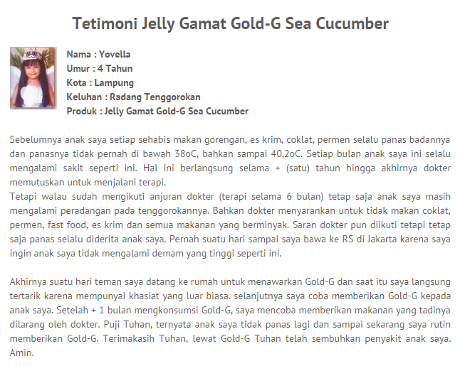 testimoni jelly gamat gold-g radang tenggorokan